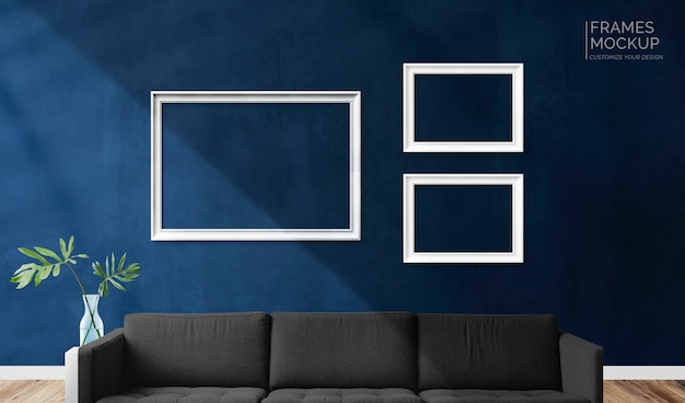Frames in a living room