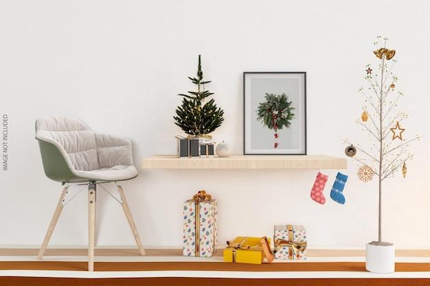 3d 렌더링에서 크리스마스 트리가 있는 벽에 프레임 모형 디자인