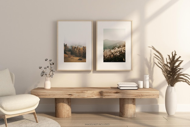 3d 렌더링의 woden 테이블이 있는 벽에 프레임 모형 디자인