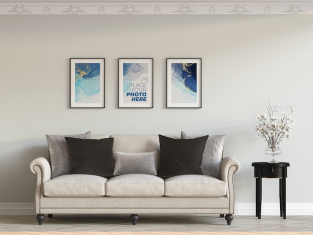 Frames mockup in living room