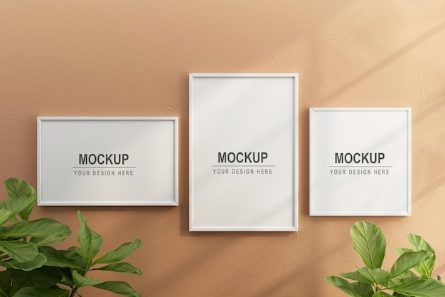 Frames and plant mockup design in 3d rendering