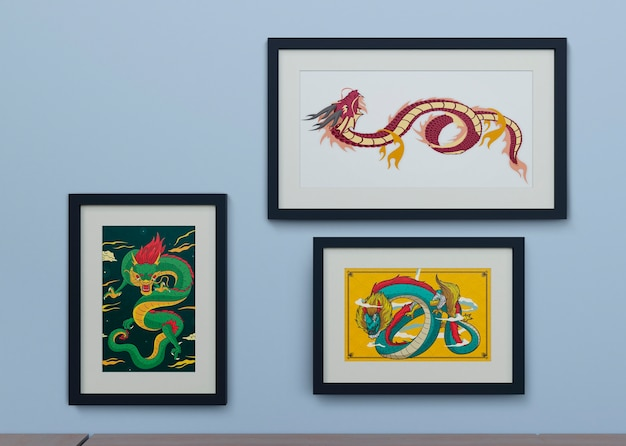 Frames on wall with snake design
