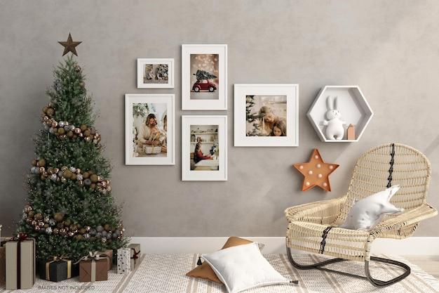 3d 렌더링에서 크리스마스 트리 모형 디자인이 있는 프레임
