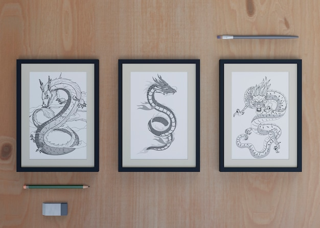 Frames with snake sketch on sheet