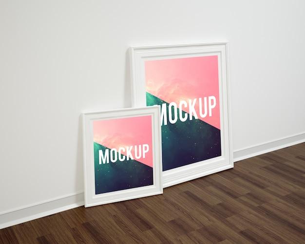 Frames on wooden floor mock up