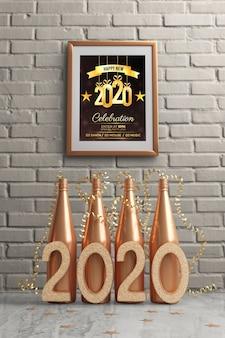 Framw hanged on wall above golden bottles