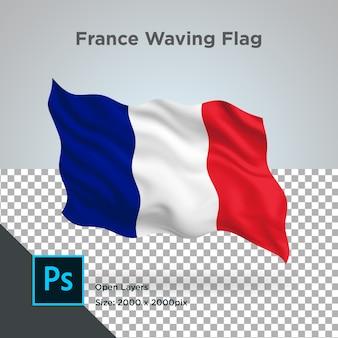 フランス国旗波透明psd