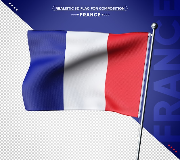 France realistic 3d textured flag rendering