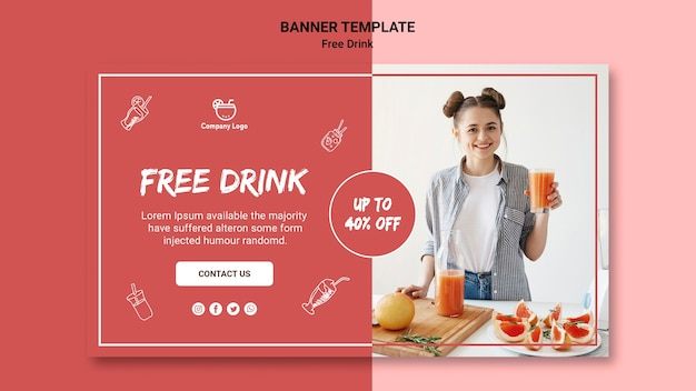 Free drink banner template