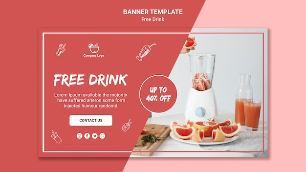 Free drink horizontal banner template