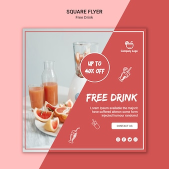 Free drink square flyer style