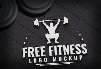 Free Fitness logo Mock up gym carpet background