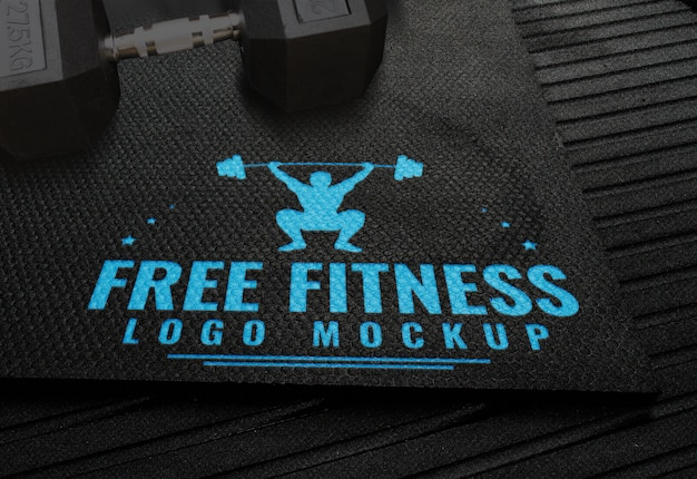 Free fitness logo mock up gym rubber background