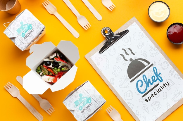 Free food delivery arrangement with clipboard mock-up