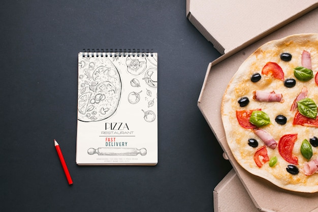 Free food service assortment with notepad mock-up