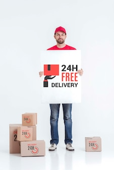 Free non-stop delivery holding a mock-up