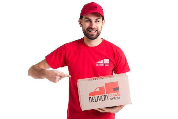 Free non-stop delivery man pointing to a box