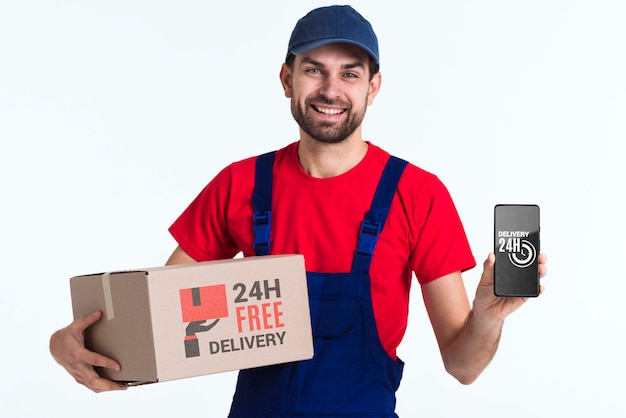 Free non-stop delivery man with mobile phone