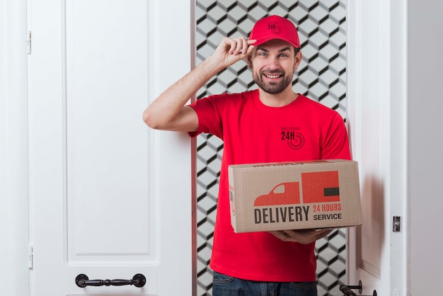 Free non-stop delivery standing next to a door