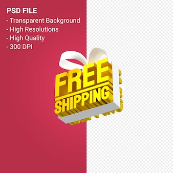 Free shipping sale with bow and ribbon 3d design isolated
