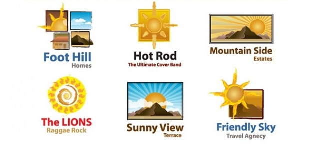 Free sun logo template set
