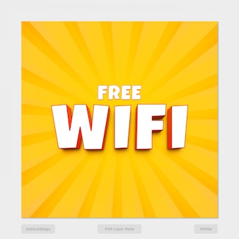 Free wifi 3d text style effect psd