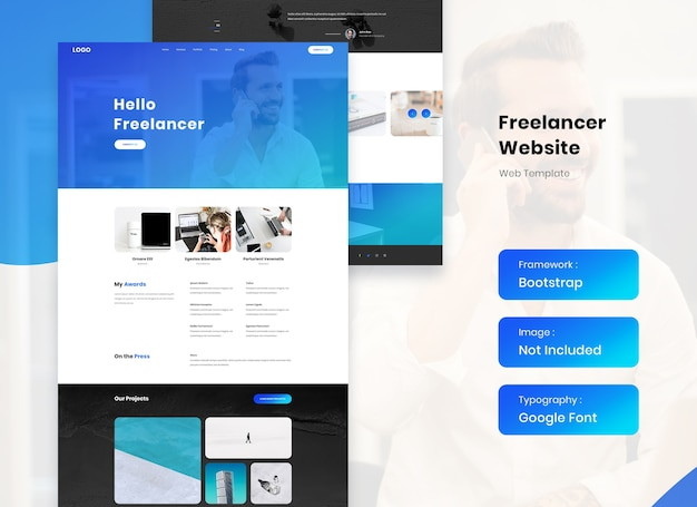 Портфолио фрилансера и дизайн шаблона сайта-резюме