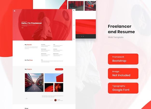 Freelancer and resume portfolio website template