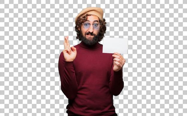Французский художник с беретом и плакатом в руках