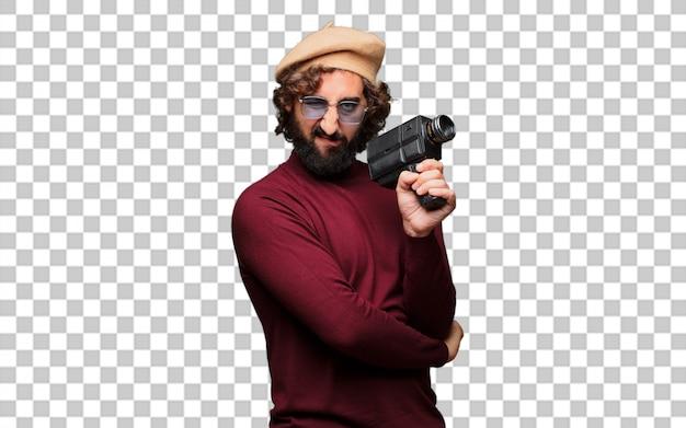 Французский художник с беретом и винтажной кинокамерой