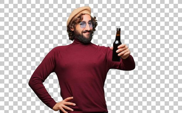 Французский художник с беретом держит пиво