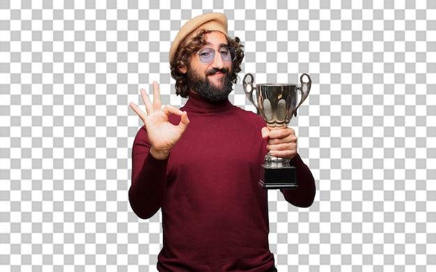 Французский художник с беретом держит трофей