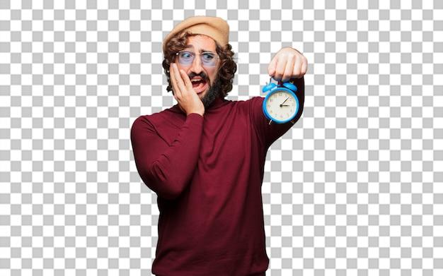 Французский художник с беретом держит будильник