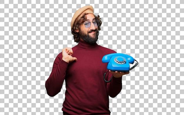 フランスの芸術家、ビンテージ電話付きベレー帽