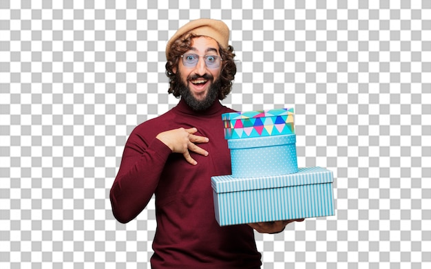 ギフト用の箱とベレー帽を持つフランスの芸術家