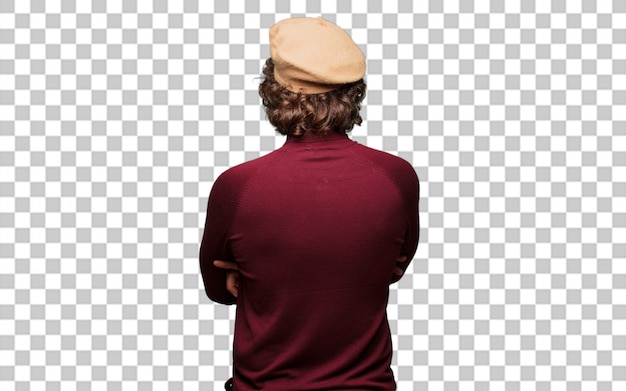 French artist with a beret back pose