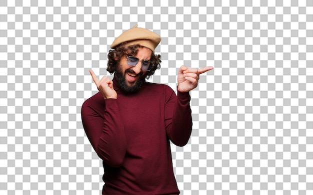 French artist with a beret dancing