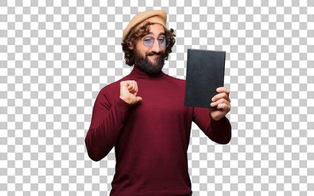 French artist with a beret holding a book