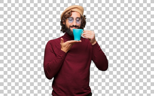 French artist with a beret holding a coffee