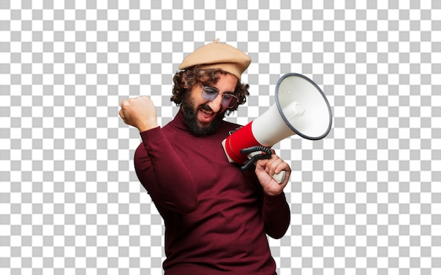 French artist with a beret and a megaphone