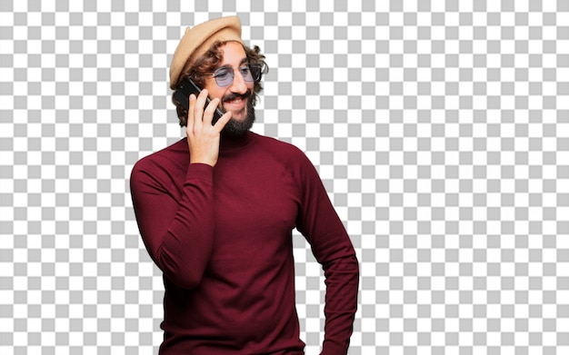French artist with a beret and a mobile phone