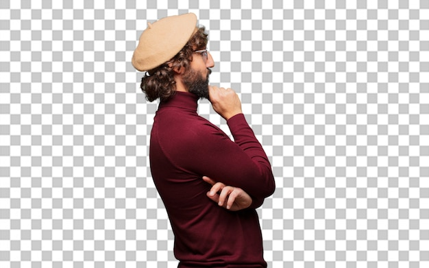 French artist with a beret thinking