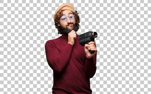 French artist with a beret and vintage movie camera