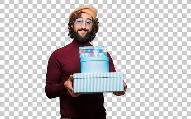French artist with a beret with gift boxes
