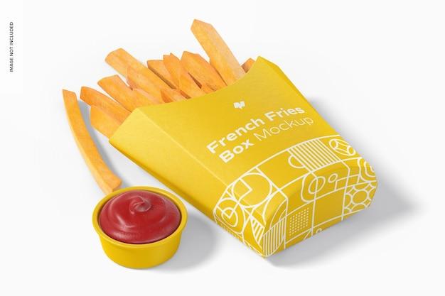 Мокап коробки для картофеля фри, перспектива