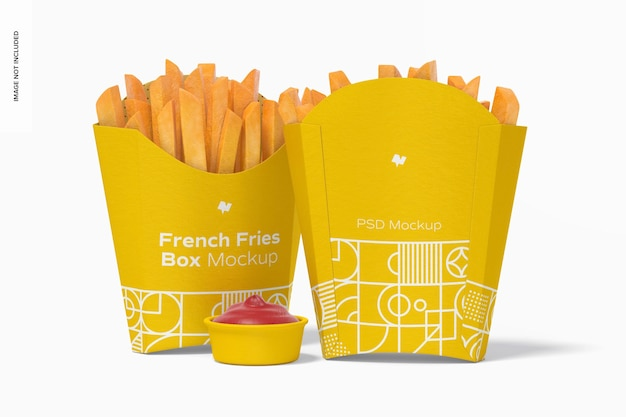 French fries boxes mockup