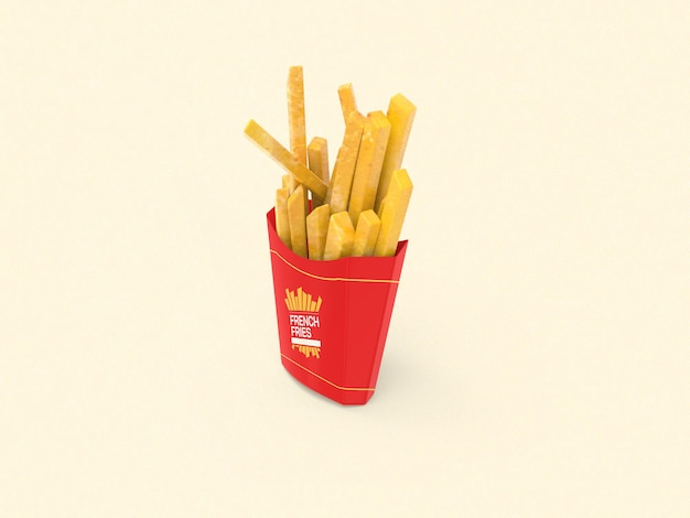 Макет упаковки картофеля фри