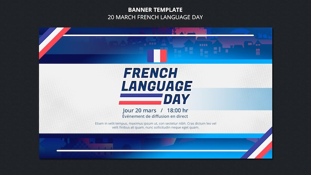 French language day banner template