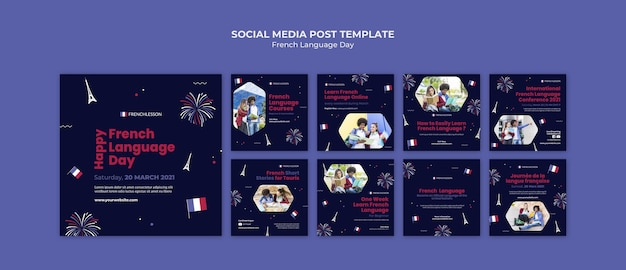 French language day instagram posts template