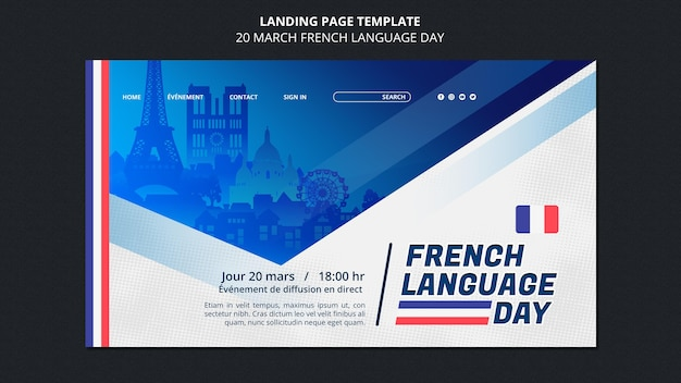 French language day web template